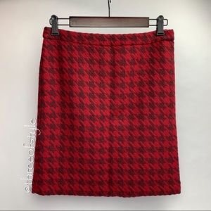 Tommy Hilfiger Red Houndstooth Pencil Skirt Size 2